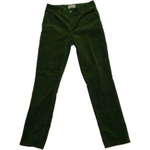 Green corduroy pants LL Bean 6 TALL